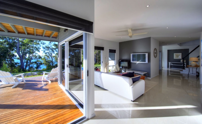open plan living room with views